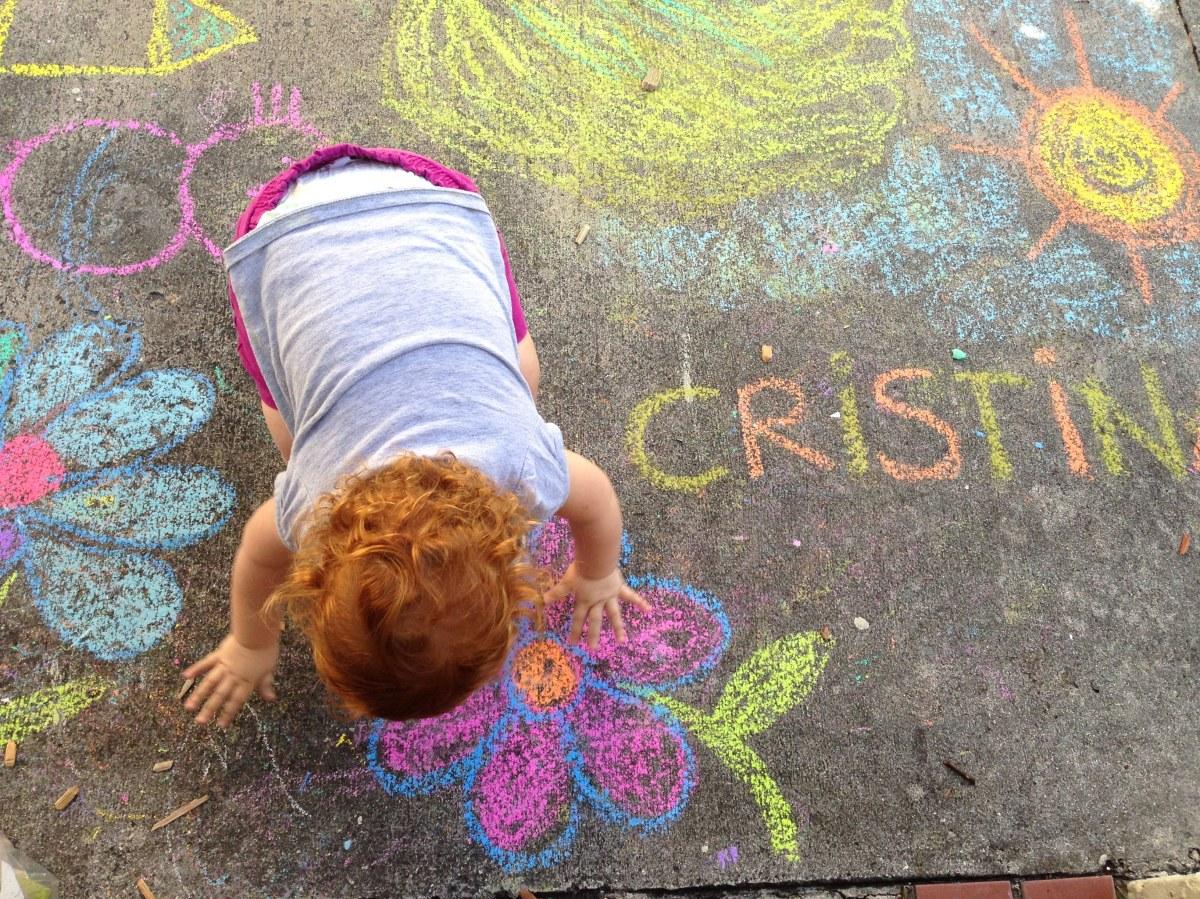Pintando con gises de colores