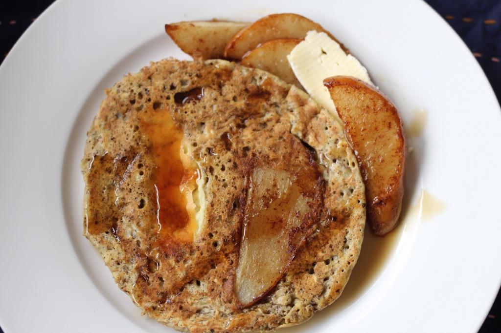 Hotcakes fit con pera y brie